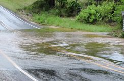 Flood Waters. Along a low water crossing in the Texas Hill Country.  rise in May 2015 stock image