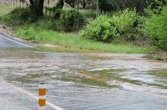 Flood Waters. Along a low water crossing in the Texas Hill Country.  rise in May 2015 royalty free stock image