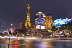 Flood waters on Las Vegas Boulevard in Las Vegas, NV on July 19, Royalty Free Stock Photos