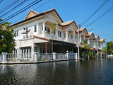 Flood waters overtake a house i. N Thailand royalty free stock photo