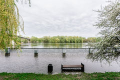 Flood waters in park Stock Photography