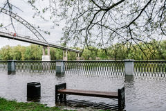 Flood waters in park Stock Image