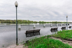 Flood waters in park Stock Photo