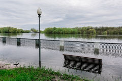 Flood waters in park Stock Photos