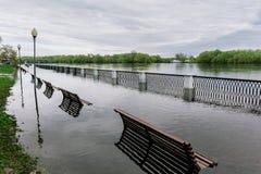 Flood waters in park. Flood waters in spring park. Seasonal disaster Stock Images