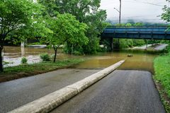 Flood Waters on the Roanoke River Greenway – May 18th, 2018 Stock Image