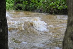 Flood waters. A small stream overflowing with rushing waters making waves Royalty Free Stock Photography
