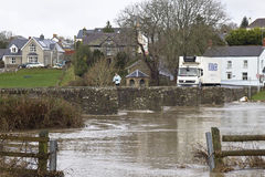 Flood waters in South Wales Stock Photography