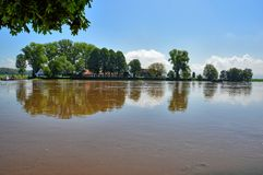 Flood on the Weser Stock Photo