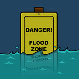 Flood zone. Cartoon illustration showing a traffic sign warning about a Flood Zone, already halfway submerged in water Royalty Free Stock Images