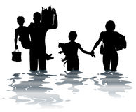 Flooded. Editable vector illustration of a family carrying belongings through a flood Stock Photos