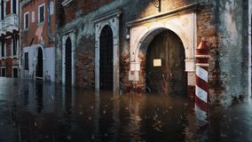 Flooded ancient buildings at Acqua Alta in Venice 4K