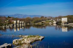 Flooded ancient city, Miletos, Aydin, Turkey. Columnar reflection. S on water royalty free stock image