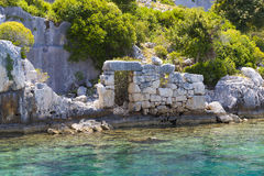 Flooded ancient Lycian city as a result of the earthquake city. Royalty Free Stock Photo