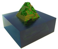 Flooded ancient pyramid - 3d art Stock Photo