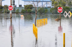 Flooded area with Do Not Enter signs Stock Photo