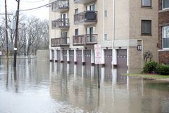 Flooded Area. Flooded homes in the Chicago area on a cloudy day royalty free stock photography