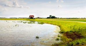 Flooded area in a newly created Dutch polder Stock Photos