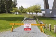 Flooded Area Signage Stock Image