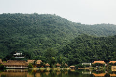 Flooded Asian country against the backdrop of the mountains in t Royalty Free Stock Image