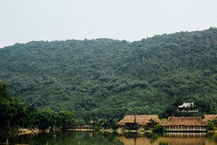 Flooded Asian country against the backdrop of the mountains in t Stock Photography
