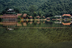 Flooded Asian country against the backdrop of the mountains in t Stock Images