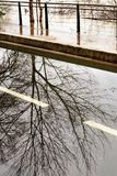 Flooded banks Seine River causes damage Paris. Flooded banks and the swollen Seine river. France on alert after days of heavy rains. Several areas on the Paris stock photos