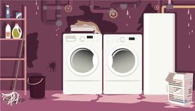Flooded basement laundry room. With leaky pipes, EPS 8 vector illustration, no transparencies stock illustration