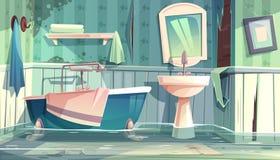 Flooding bathroom in old house cartoon vector. Flooded bathroom in old apartments or house cartoon vector illustration with vintage bathtub, shabby, dirty walls vector illustration