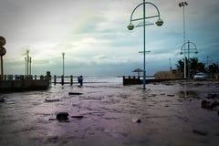 Flooded beachfront Stock Image