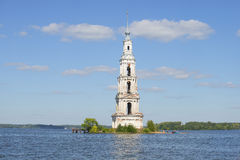 The flooded belfry of St. Nicholas Cathedral summer day. Kalyazin, Tver region Stock Images