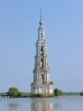 Flooded Belfry on the Volga river in Kalyazin Royalty Free Stock Photography