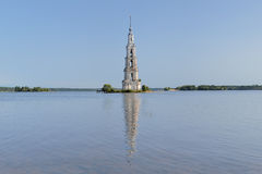 Flooded Belfry on the Volga river in Kalyazin Royalty Free Stock Photos