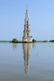 Flooded Belfry on the Volga river in Kalyazin Stock Photo