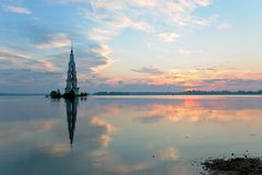 Flooded belltower in Kalyazin at sunrise Royalty Free Stock Photo