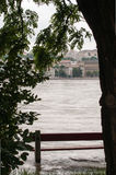 Flooded Bench, Budapest Stock Photo