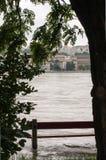 Flooded Bench, Budapest Stock Photo