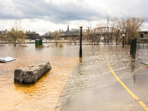 Flooded bicycle path Stock Photos