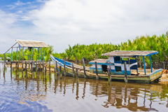 Flooded Boat on Coast After Tsunami. Singkil, Indonesia, Southeast Asia royalty free stock photos