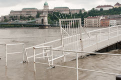 Flooded Boat Launch, Budapest Stock Photo
