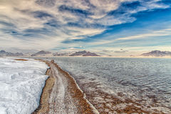 Flooded Bonneville Salt Flats in Utah, USA. Royalty Free Stock Images