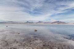 Flooded Bonneville Salt Flats in Utah, USA. Stock Photos