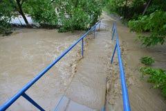 FLOODED BRIDGE. Flood damaged property . Serbia 2014 Stock Image