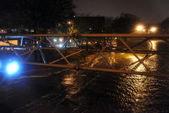 Flooded Brooklyn Queens expressway caused by Sandy. BROOKLYN, NY - OCTOBER 29: Flooded Brooklyn Queens expressway, caused by Hurricane Sandy, are seen on October Royalty Free Stock Photo