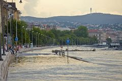 Flooded Budapest. BUDAPEST, HUNGARY - JUNE 6: People at the flooding river Danube, June 6th 2013. Record breaking water level is expected in a few days Stock Image