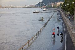 Flooded Budapest Street Stock Photography