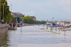 Flooded Budapest Street Royalty Free Stock Photo
