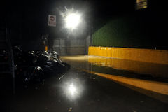 Flooded building basement, caused by Hurricane San. BROOKLYN, NY - OCTOBER 29: Flooded building basement, caused by Hurricane Sandy, are seen on October 29, 2012 Royalty Free Stock Photos