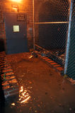 Flooded building entrance caused by Hurricane Sand. BROOKLYN, NY - OCTOBER 29: Flooded building entrance, caused by Hurricane Sandy, are seen on October 29, 2012 Royalty Free Stock Photos