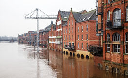 Flooded Buildings. Flooded  buildings alongside a river Stock Images